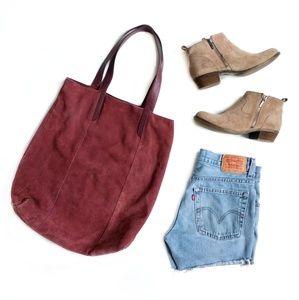 Genuine Leather Suede Burgundy Slouchy Tote Bag